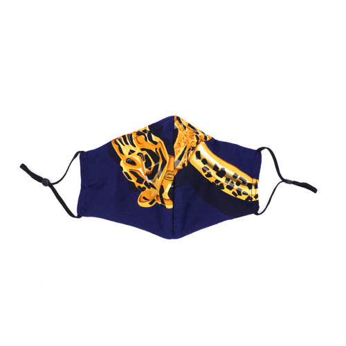 Cotton/Silk Fashion Face Mask - Cartier Panthere Royale Blue Unpleated