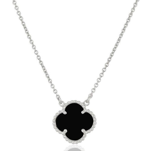 Valentine Rouge Clover Black Onyx Necklace
