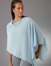 Load image into Gallery viewer, blue Cashmere Peony Button Poncho
