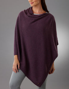 Mottled Purple Cashmere Lotus Poncho