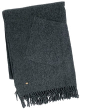 Load image into Gallery viewer, Grey Cashmere Woven Poncho w Fringe & Pockets
