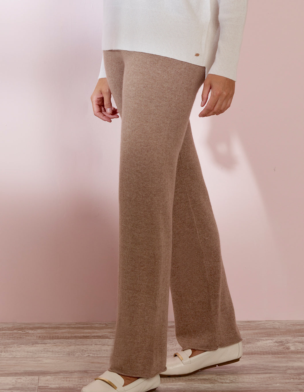 Brown Cashmere Wide Pant