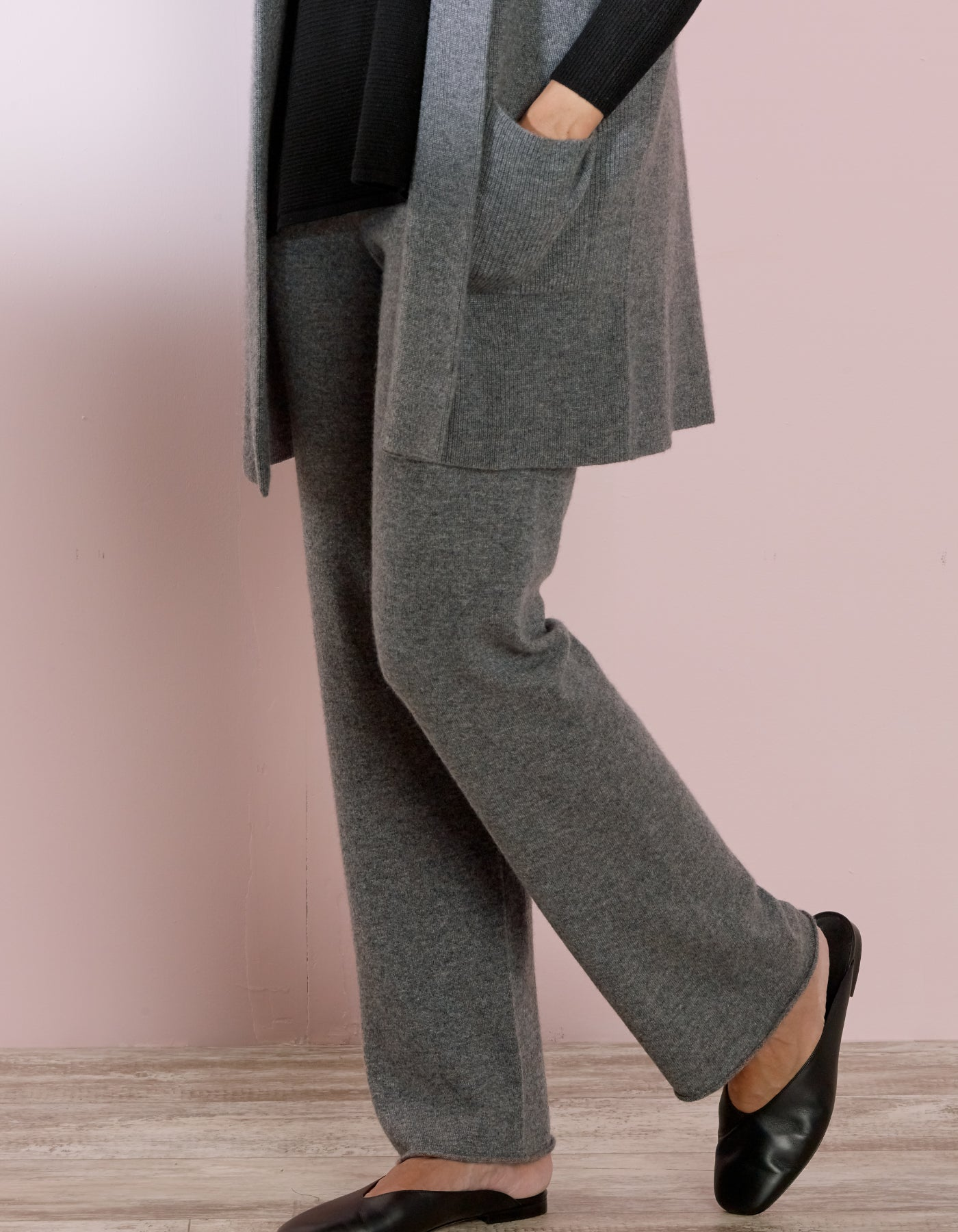Grey Cashmere Wide Pant