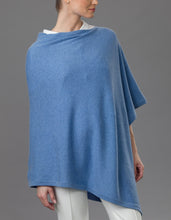 Load image into Gallery viewer, Blue Cashmere Lotus Poncho