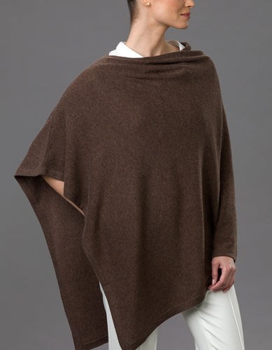Mottled Brown Lotus Cashmere Poncho