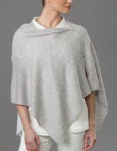 Load image into Gallery viewer, Grey Cashmere Peony Button Poncho