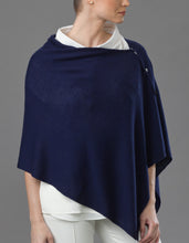 Load image into Gallery viewer, Blue navy Cashmere Peony Button Poncho