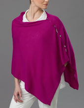 Load image into Gallery viewer, Magenta Cashmere Peony Button Poncho