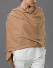 Load image into Gallery viewer, Brown Cashmere Tulip Travel Wrap