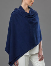 Load image into Gallery viewer, Blue Cashmere Tulip Travel Wrap