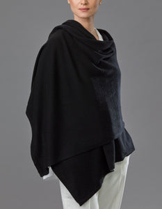 Black Cashmere Tulip Travel Wrap