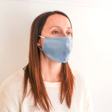 Fashion Face Mask - Mid-Blue Silk