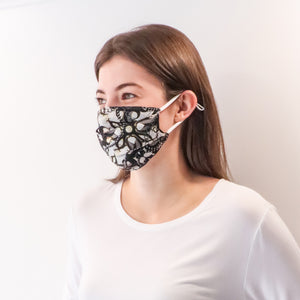 Pleated Fashion Face Mask - Black Pearls Silk