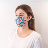 Pleated Fashion Face Mask - Hibiscus Garden Silk