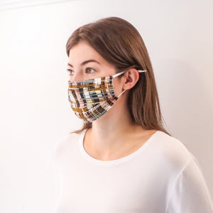 Pleated Fashion Face Mask - Painted Brushstrokes Silk