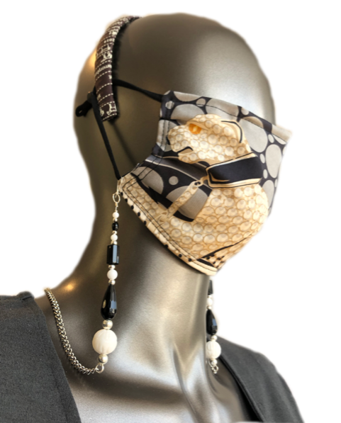 Convertible Black & White Mask Chain Necklace