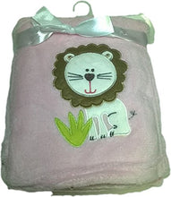 LuxClub Premium Super Plush 30 x 40 Baby Blanket with Cute Embroidery Character or Phrase - Lion - Pink