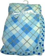 LuxClub Premium Super Plush 30 x 40 Baby Blanket with Colorful Print-Plaid Blue