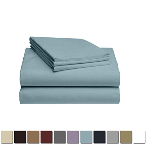 LuxClub 1500 Supreme Collection Triple Stitch Embroidery Sheet Set - 100% Microfiber - Wrinkle Free, Stronger & Softer than Cotton - Light Blue California King