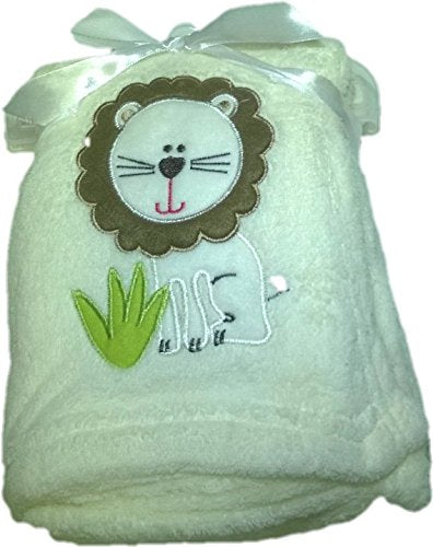 LuxClub Premium Super Plush 30 x 40 Baby Blanket with Cute Embroidery Character or Phrase - Lion - Off White
