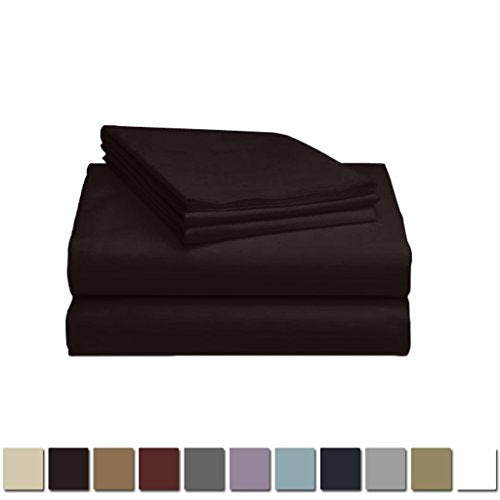 LuxClub 1500 Supreme Collection Triple Stitch Embroidery Sheet Set - 100% Microfiber - Wrinkle Free, Stronger & Softer than Cotton - Black California King