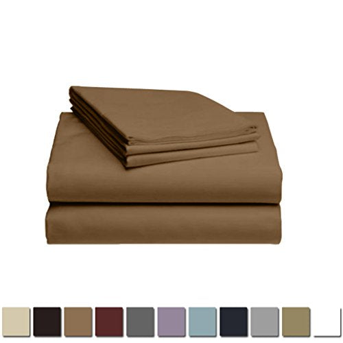 LuxClub 1500 Supreme Collection Triple Stitch Embroidery Sheet Set - 100% Microfiber - Wrinkle Free, Stronger & Softer than Cotton - Brown Queen