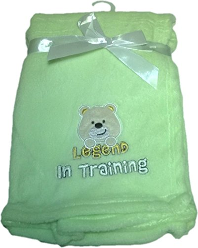LuxClub Premium Super Plush 30 x 40 Baby Blanket with Cute Embroidery Character or Phrase - Teddy Bear - Legend in Training - Green