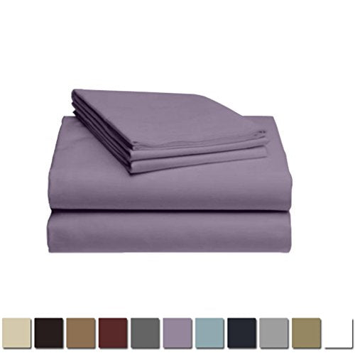 LuxClub 1500 Supreme Collection Triple Stitch Embroidery Sheet Set - 100% Microfiber - Wrinkle Free, Stronger & Softer than Cotton - Lavender California King