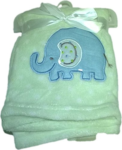 LuxClub Premium Super Plush 30 x 40 Baby Blanket with Cute Embroidery Character or Phrase - Elephant - Mint with White Dots