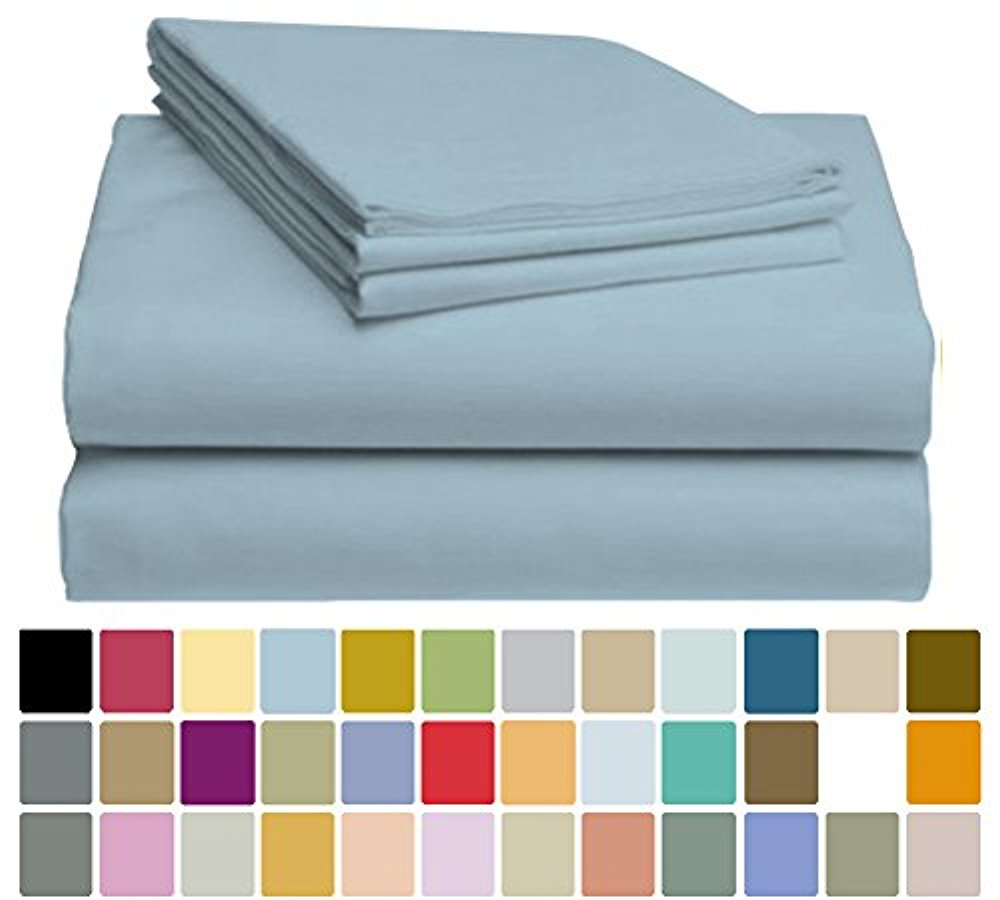 LuxClub Bamboo Sheet Set - Bamboo - Eco Friendly, Wrinkle Free, Hypoallergenic, Antibacterial, Moisture Wicking, Fade Resistant, Silky, Stronger & Softer than Cotton - Light Blue California King
