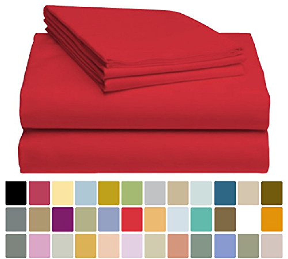 LuxClub Bamboo Sheet Set - Viscose from Bamboo - Eco Friendly, Wrinkle Free, Hypoallergenic, Antibacterial, Moisture Wicking, Fade Resistant, Silky & Softer than Cotton - Red - California King