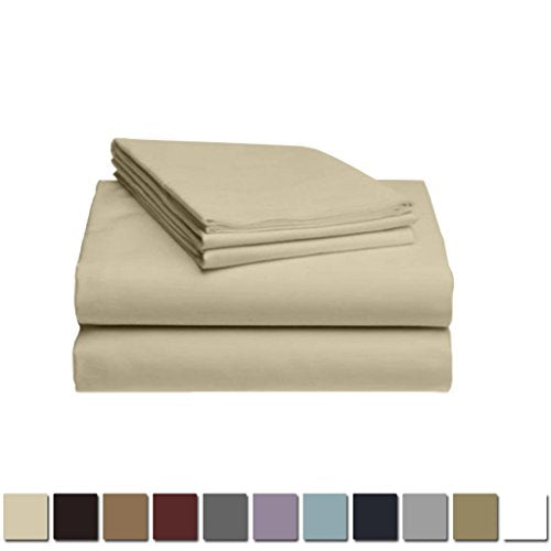 LuxClub 1500 Supreme Collection Triple Stitch Embroidery Sheet Set - 100% Microfiber - Wrinkle Free, Stronger & Softer than Cotton - Beige California King
