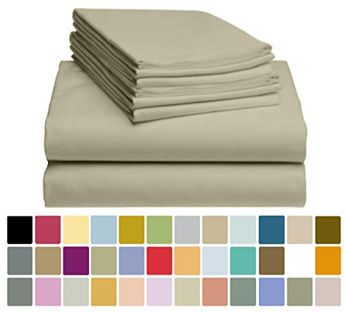 6 PC LuxClub Bamboo Sheet Set w/ 18 inch Deep Pockets - Eco Friendly, Wrinkle Free, Hypoallergentic, Antibacterial, Fade Resistant, Silky, Stronger & Softer than Cotton - Sand Dunes California King