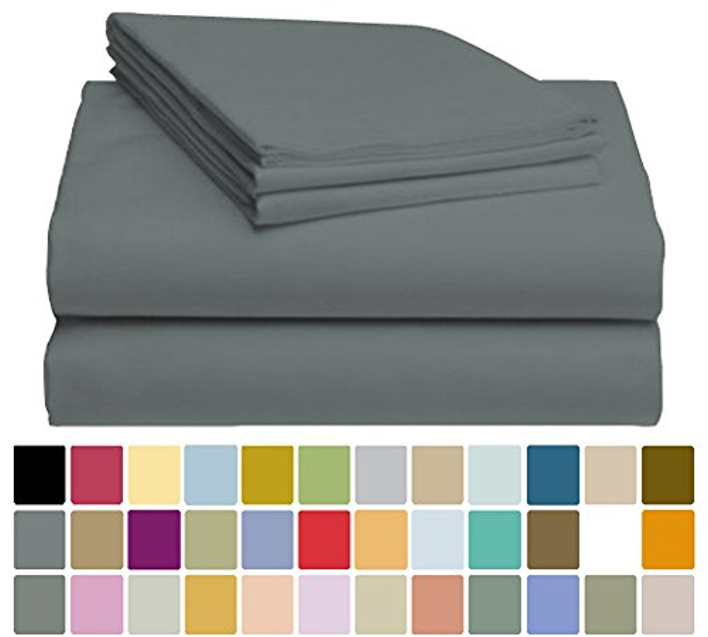 LuxClub Bamboo Sheet Set - Viscose from Bamboo - Eco Friendly, Wrinkle Free, Hypoallergenic, Antibacterial, Moisture Wicking, Fade Resistant, Silky & Softer than Cotton - Dark Grey - California King