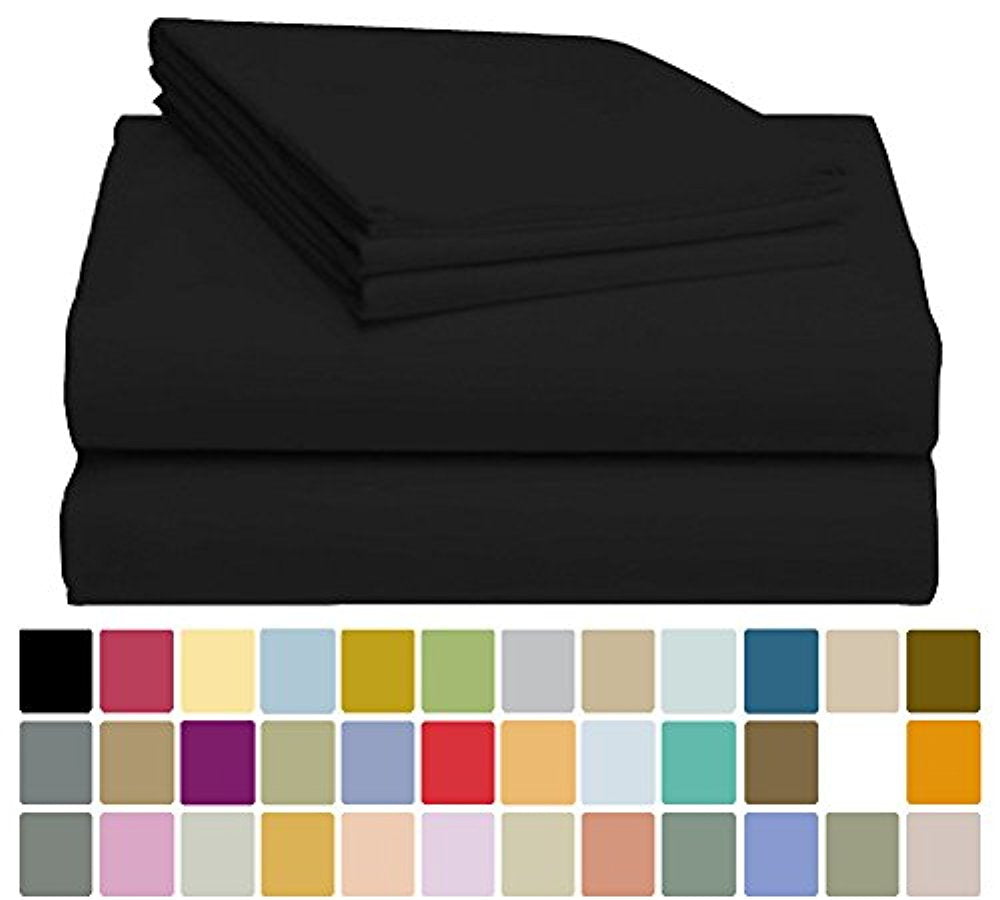LuxClub Bamboo Sheet Set - Bamboo - Eco Friendly, Wrinkle Free, Hypoallergenic, Antibacterial, Moisture Wicking, Fade Resistant, Silky, Stronger & Softer than Cotton - Black California King