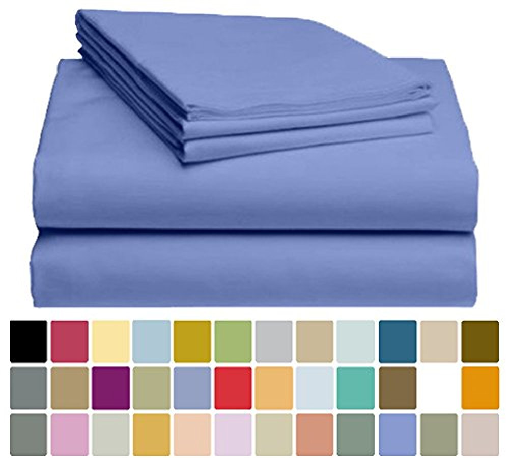 LuxClub Bamboo Sheet Set - Viscose from Bamboo - Eco Friendly, Wrinkle Free, Hypoallergenic, Antibacterial, Moisture Wicking, Fade Resistant, Silky & Softer than Cotton - Violet Blue - California King