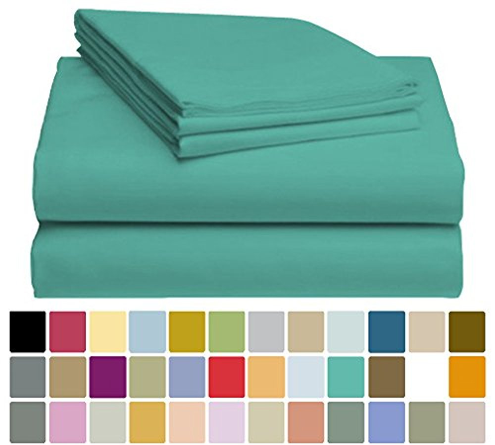 LuxClub Bamboo Sheet Set - Bamboo - Eco Friendly, Wrinkle Free, Hypoallergenic, Antibacterial, Moisture Wicking, Fade Resistant, Silky, Stronger & Softer than Cotton - Teal - California King