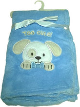 LuxClub Premium Super Plush 30 x 40 Baby Blanket with Cute Embroidery Character or Phrase - Puppy Dog - Blue