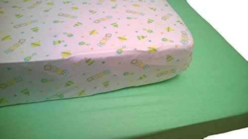 LuxClub Baby Crib Sheet 2 Count Pack - Baby Toys Print and Green Solid Set