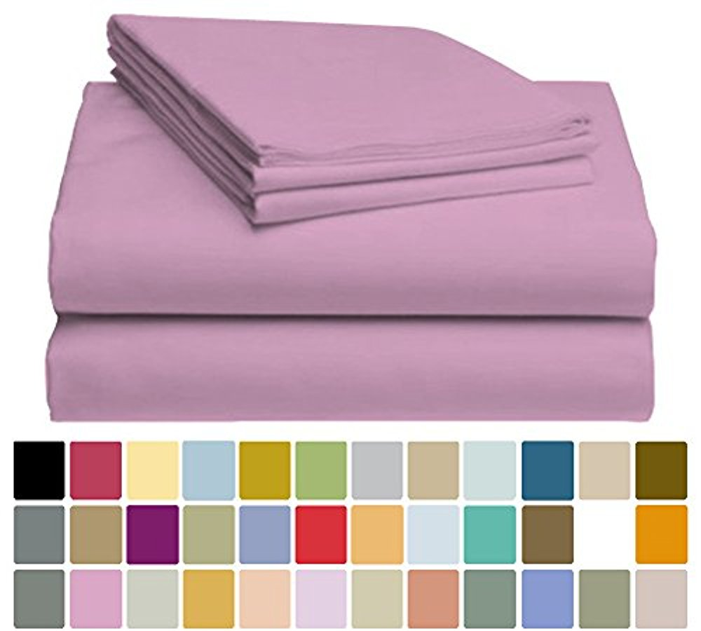 LuxClub Bamboo Sheet Set - Viscose from Bamboo - Eco Friendly, Wrinkle Free, Hypoallergenic, Antibacterial, Moisture Wicking, Fade Resistant, Silky & Softer than Cotton - Light Plum - California King