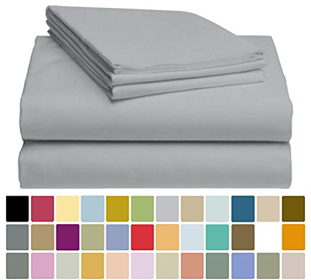 LuxClub Bamboo Sheet Set - Viscose from Bamboo - Eco Friendly, Wrinkle Free, Hypoallergentic, Antibacterial, Moisture Wicking, Fade Resistant, Silky & Softer than Cotton - Light Grey - California King