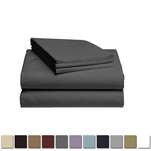 LuxClub 1500 Supreme Collection Triple Stitch Embroidery Sheet Set - 100% Microfiber - Wrinkle Free, Stronger & Softer than Cotton - Grey California King