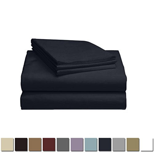 LuxClub 1500 Supreme Collection Triple Stitch Embroidery Sheet Set - 100% Microfiber - Wrinkle Free, Stronger & Softer than Cotton - Navy California King