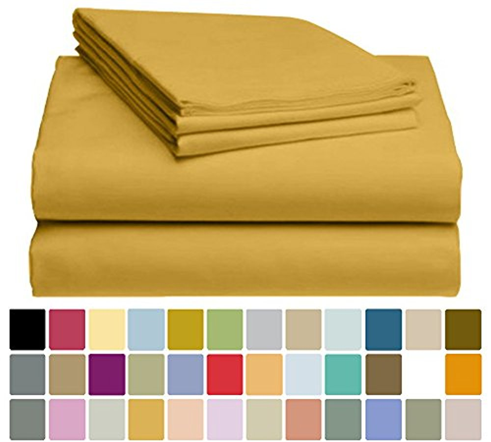 LuxClub Bamboo Sheet Set - Viscose from Bamboo - Eco Friendly, Wrinkle Free, Hypoallergenic, Antibacterial, Moisture Wicking, Fade Resistant & Softer than Cotton - Medallion Gold - California King
