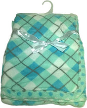 LuxClub Premium Super Plush 30 x 40 Baby Blanket with Colorful Print-Plaid Green
