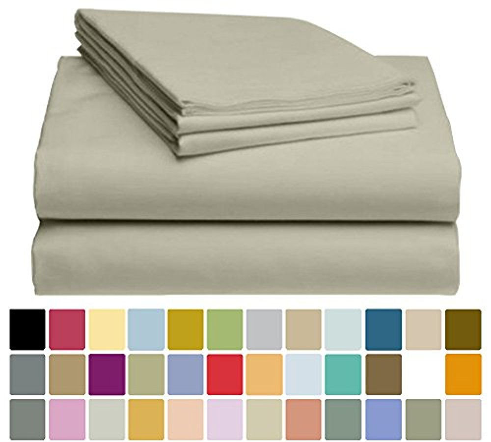 LuxClub Bamboo Sheet Set - Viscose from Bamboo - Eco Friendly, Wrinkle Free, Hypoallergenic, Antibacterial, Moisture Wicking, Fade Resistant, Silky & Softer than Cotton - Light Taupe - California King