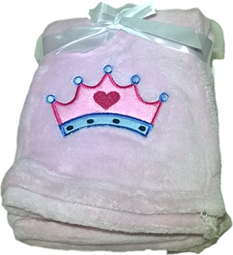 LuxClub Premium Super Plush 30 x 40 Baby Blanket with Cute Embroidery Character or Phrase - Crown - Pink