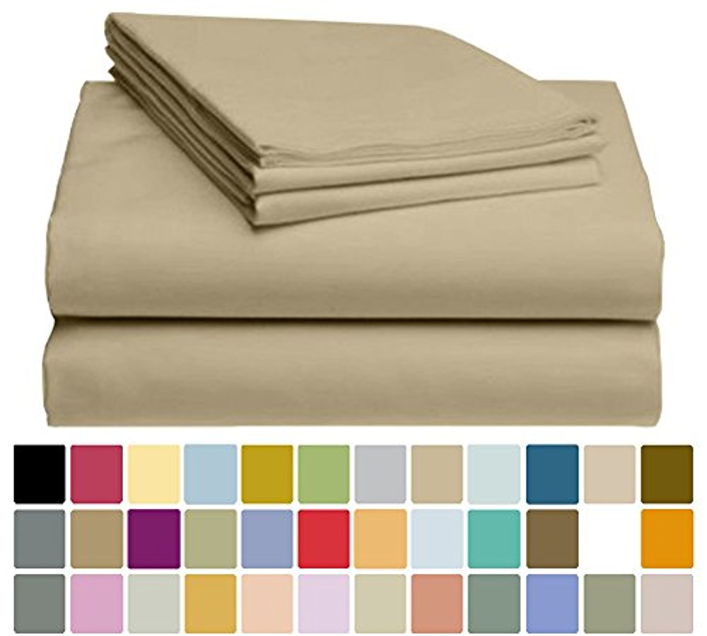 LuxClub Bamboo Sheet Set - Viscose from Bamboo - Eco Friendly, Wrinkle Free, Hypoallergentic, Antibacterial, Moisture Wicking, Fade Resistant & Softer than Cotton - Light Khaki - California King