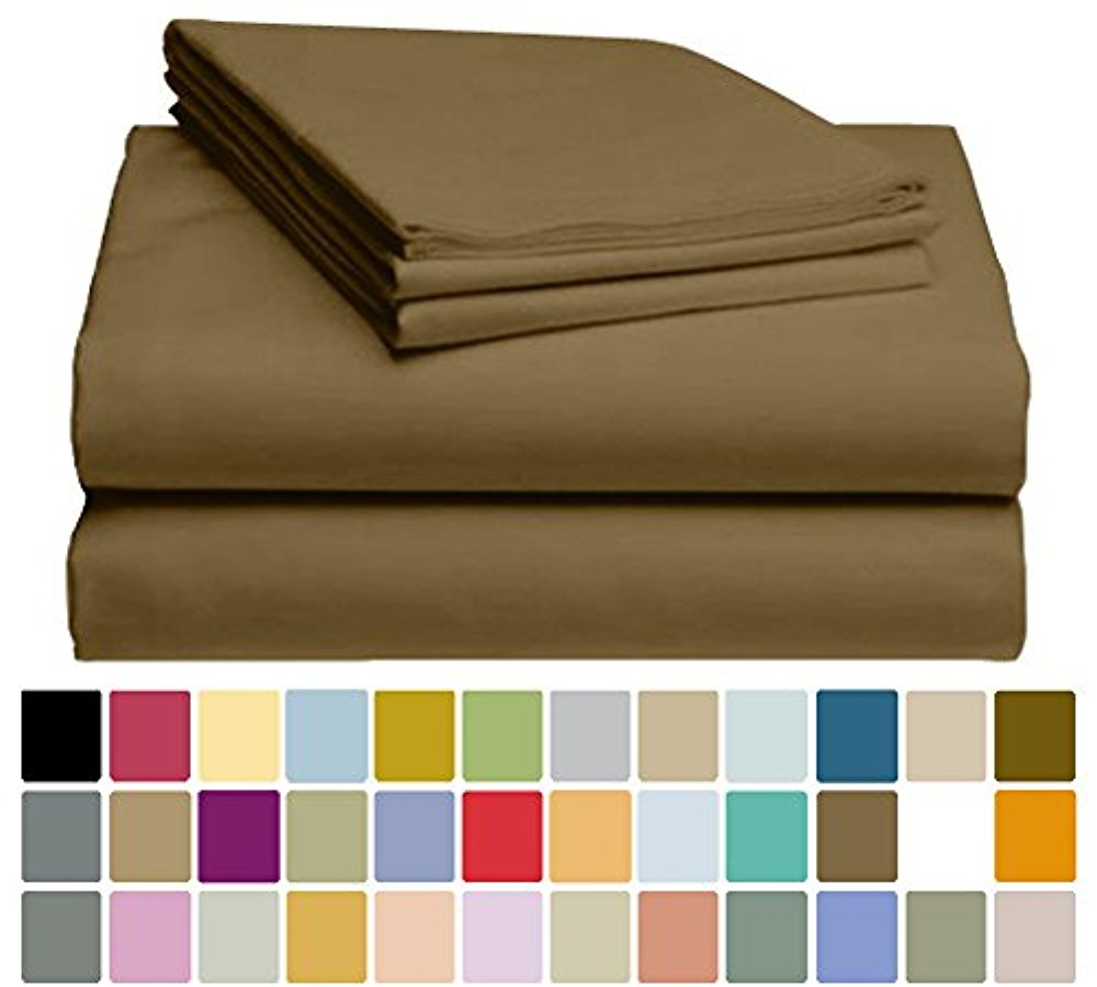 LuxClub Bamboo Sheet Set - Bamboo - Eco Friendly, Wrinkle Free, Hypoallergenic, Antibacterial, Moisture Wicking, Fade Resistant, Silky, Stronger & Softer than Cotton - Tree Bark - King