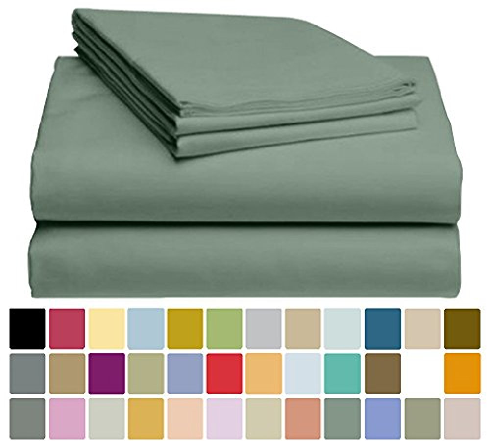 LuxClub Bamboo Sheet Set - Viscose from Bamboo - Eco Friendly, Wrinkle Free, Hypoallergenic, Antibacterial, Moisture Wicking, Fade Resistant, Silky, Stronger & Softer than Cotton - Sage King